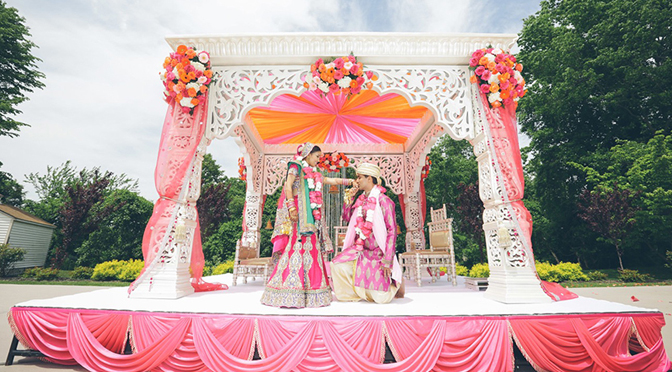indian couple on wedding stage