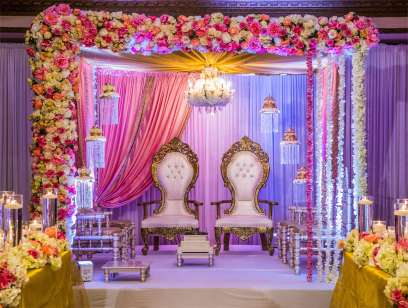 Pink Floral Mandap wedding stage