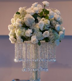 White flower crystal bowl
