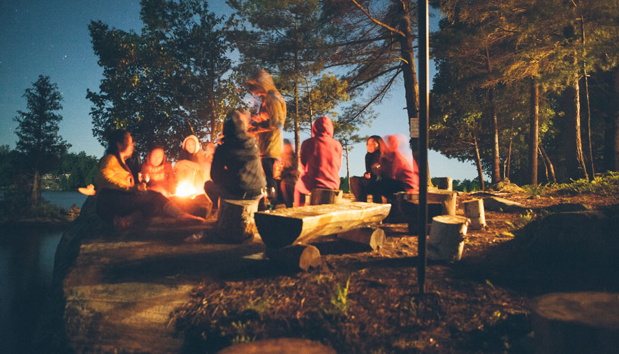 A bonfire party