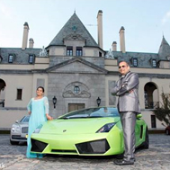 wedding couple and sports car